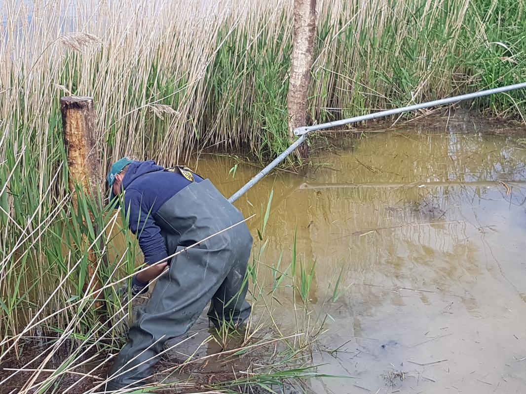 Zugang zum Wasser mit Rohren absperren